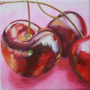 \'Cherries 2\' - 20x20 cm, Öl auf Leinwand