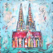 'Dom 3' - 30x30, Acryl auf Leinwand