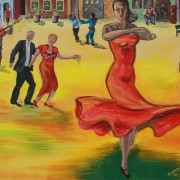 \'International Dancer\' - 150x50 cm - Acryl auf Leinwand