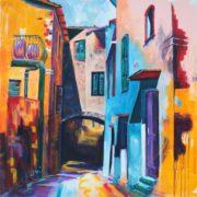 'Italienisches Dorf' - 100x100, Acryl auf Leinwand