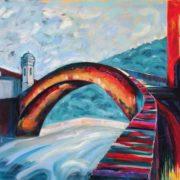 'Ponte Vecchio di Dolceacqua' - 100x120, Acryl auf Leinwand