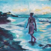 'Strandspaziergang' - 24x30, Acryl auf Leinwand